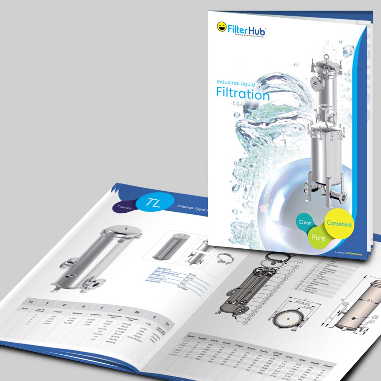 Filterhub Catalogue in Booklet Design